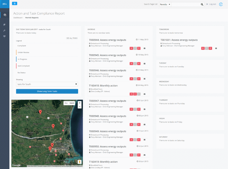 Consent monitoring tasks and map screenshot